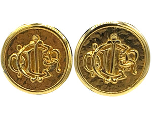 Christian Dior Gold Tone Button Logo Earrings FRONT 1 of 2