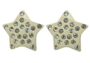 80s White Rhinestone Star Earrings FRONT 1 of 2