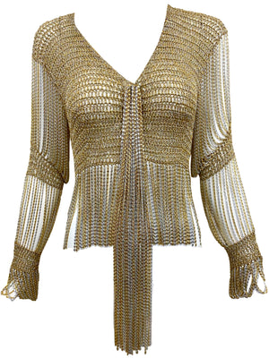 Loris Azzaro Gold and Silver Cardigan with Chain Fringe FRONT 1 of 5