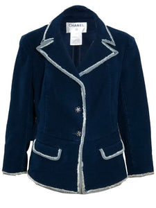 Chanel Blue Cotton Velvety Jacket with Denim Trim FRONT 1 of 7