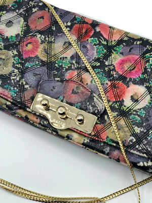 Bally Leather Quilted Floral Shoulder Bag Close Up 2 of 5