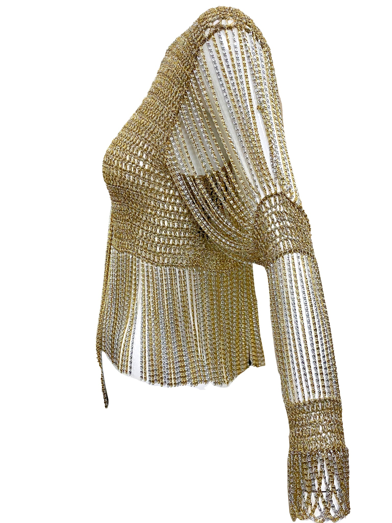 Loris Azzaro Gold and Silver Cardigan with Chain Fringe SIDE 2 of 5