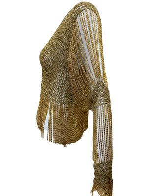 LORIS AZZARO 70s gold Crochet Cardigan with Metal Fringe SIDE 3 of 5