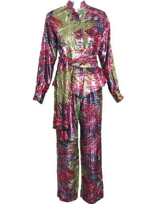Mr. John Pant Suit Pink and Green Eyelash Lame FRONT 1 of 6