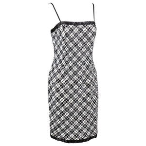 Vintage BLASS 90s Black & White Embellished Plaid Dress, side
