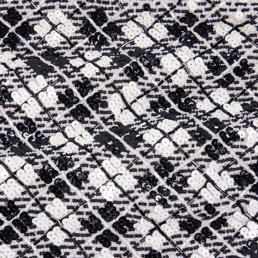 Vintage BLASS 90s Black & White Embellished Plaid Dress, detail 1