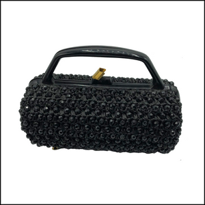 60s Black Raffia Crochet Jet Bead Barrel Bag 1 of 6