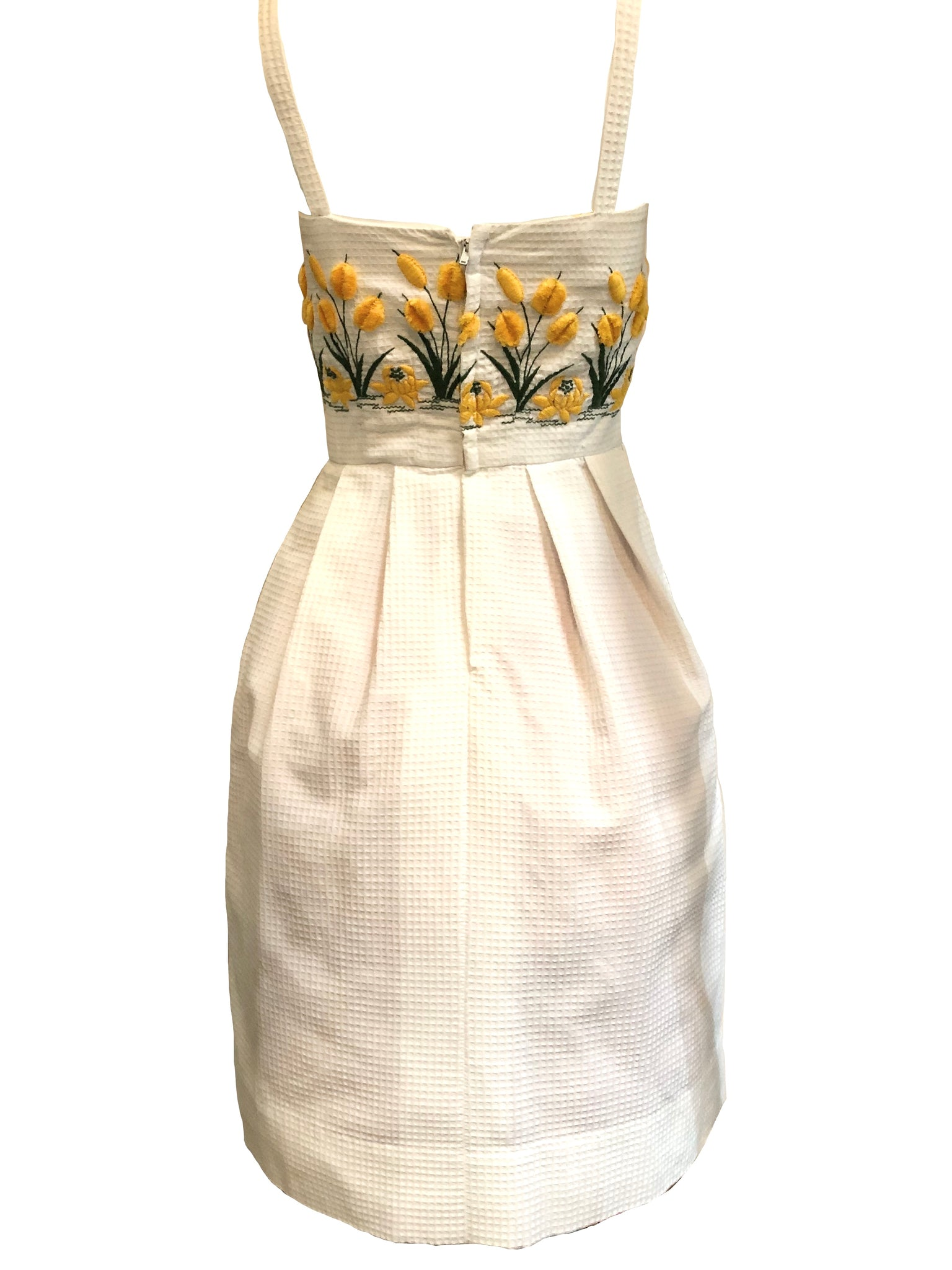 50s Dress White Pique with Yellow Floral Embroidery BACK 2 of 3