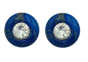 80s JONI  Blue Marbled Button Earrings with Giant Gem Center FRONT 1 of 2