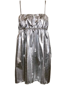 Eve Stillman 60s Silver Lame Babydoll Mini FRONT 1 of 5