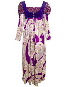 60s Anmar Purple Paisley Medieval Style Maxi Dress FRONT 1 of 7