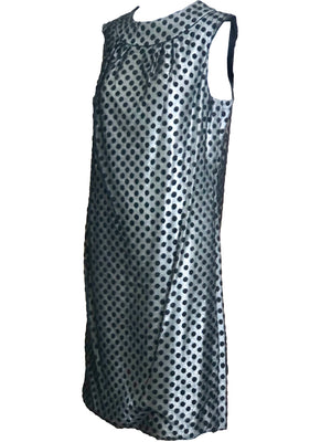 60s Dress Black Polka Dot Over Silver Lurex sheath ANGLE 2 of 6