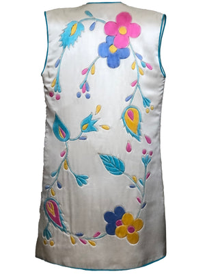 Michel Henjak 80s ivory satin Quilted Hand-Painted Vest BACK 3 of 4