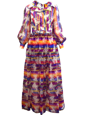 70s Butterfly Hostess Maxi Dress FRONT 1 OF 5