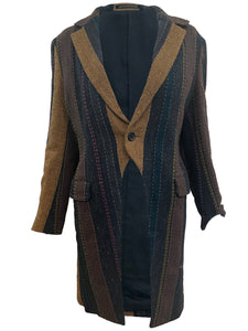 Yohji Yamamoto Contemporary Brown Striped Wool Morning Coat FRONT 1 of 3