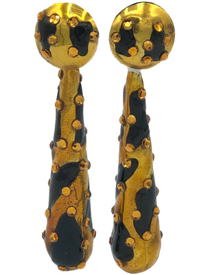 80s Huge Gold and Black Spotted Teardrop Earrings  FRONT 1 of 2