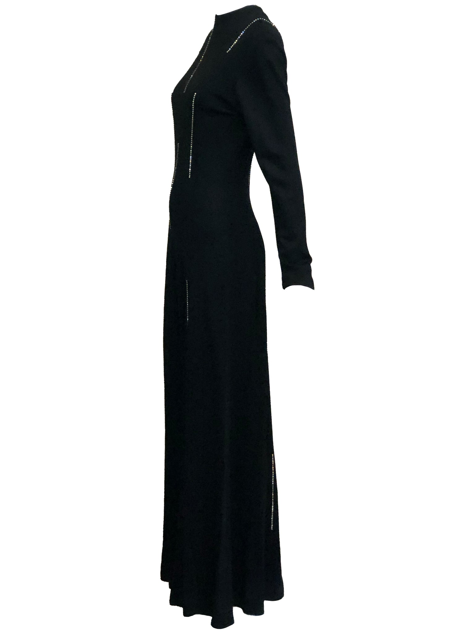 70s Black Polyester Rhinestone Jumpsuit SIDE 2 of 5