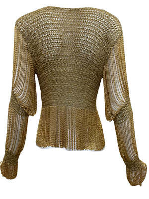 Loris Azzaro Gold and Silver Cardigan with Chain Fringe BACK 3 of 5