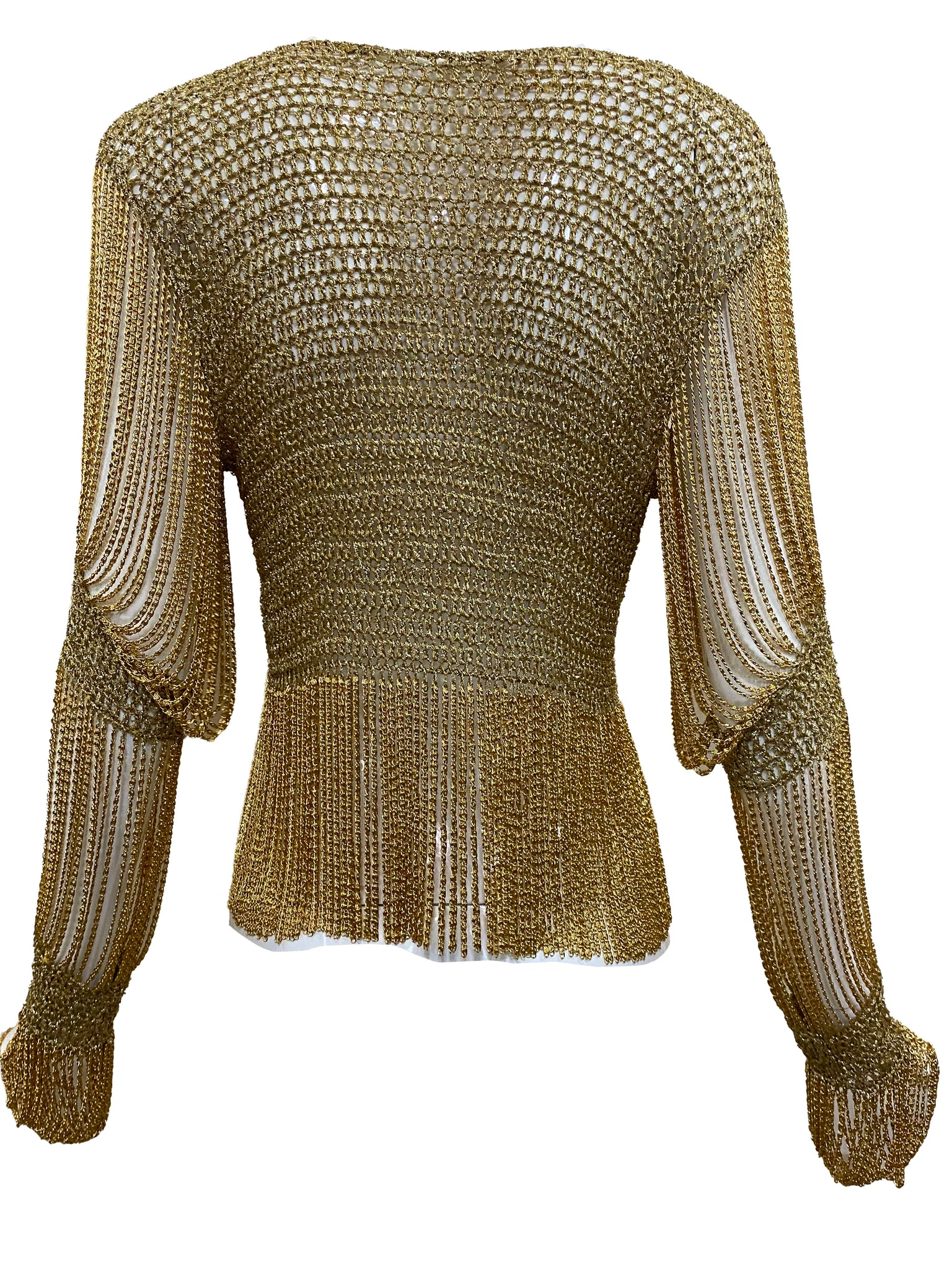 LORIS AZZARO 70s gold Crochet Cardigan with Metal Fringe BACK 4 of 5