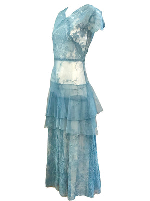 20s Cornflower Blue Tulle Gown with Embroidery SIDE  2of 3