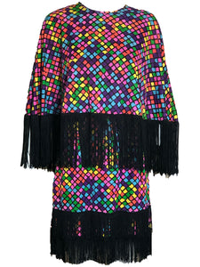 60s Mini Dress Rainbow Fringed with Matching Poncho ENSEMBLE FRONT 1 of 5