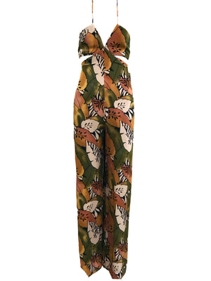 Geoffrey Beene 90s Tropical Themed Halter Jumpsuit FRONT 1 of 4