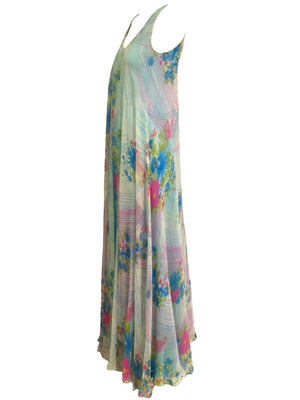 Stavropoulos 70s Pink and Blue Chiffon Maxi Dress with Scarf SIDE 3 of 5