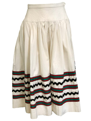 YSL 1970s Peasant Ensemble in Black and White SKIRT 5 of 6