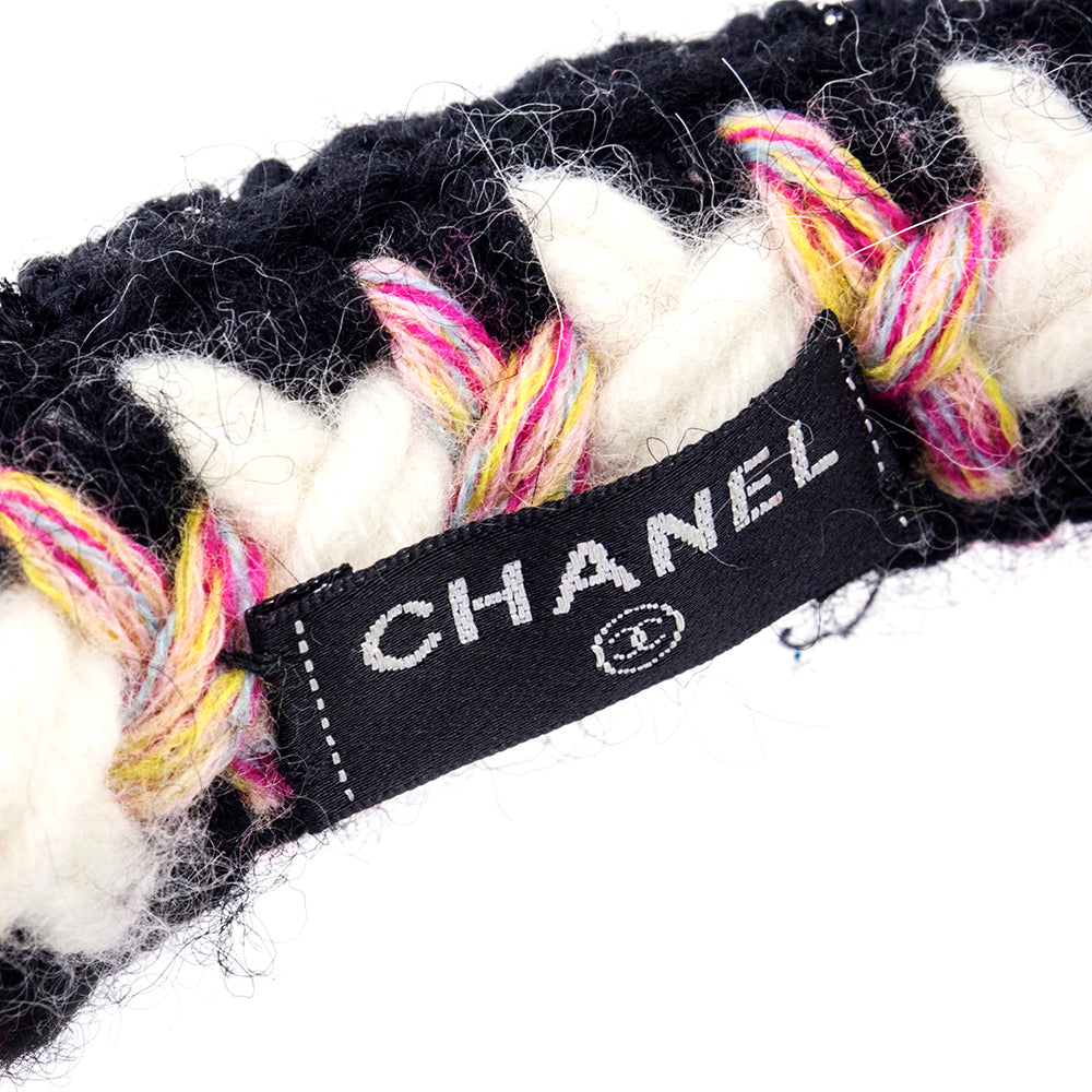 Vintage CHANEL 90s Crochet & Fur Winter Earmuffs, label