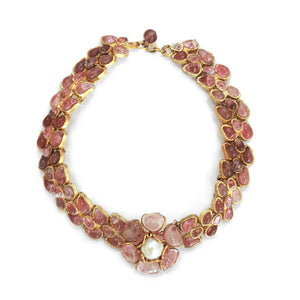 Vintage CHANEL 60s Gripoix Rose Necklace
