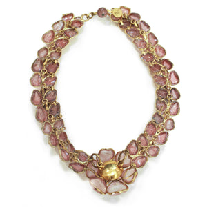 Vintage CHANEL 60s Gripoix Rose Necklace, back