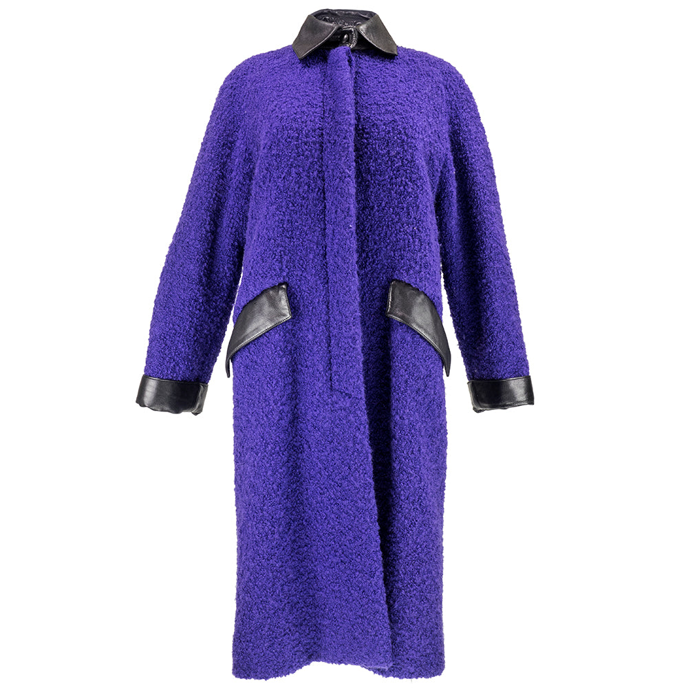70s Christian Dior Purple Nubby Wool Overcoat with Leather Trim Front 1 of 6