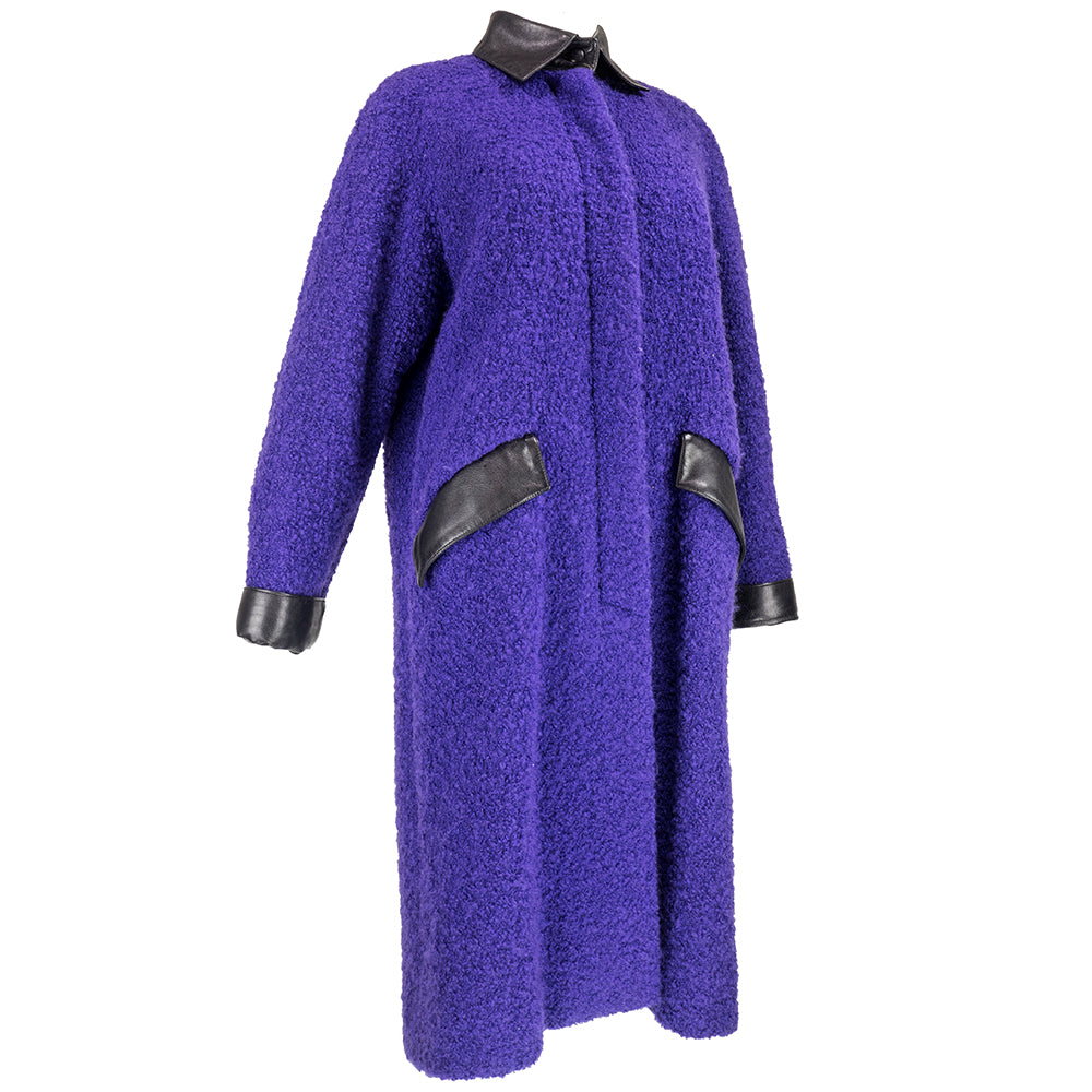 70s Christian Dior Purple Nubby Wool Overcoat with Leather Trim Side 2 of 6