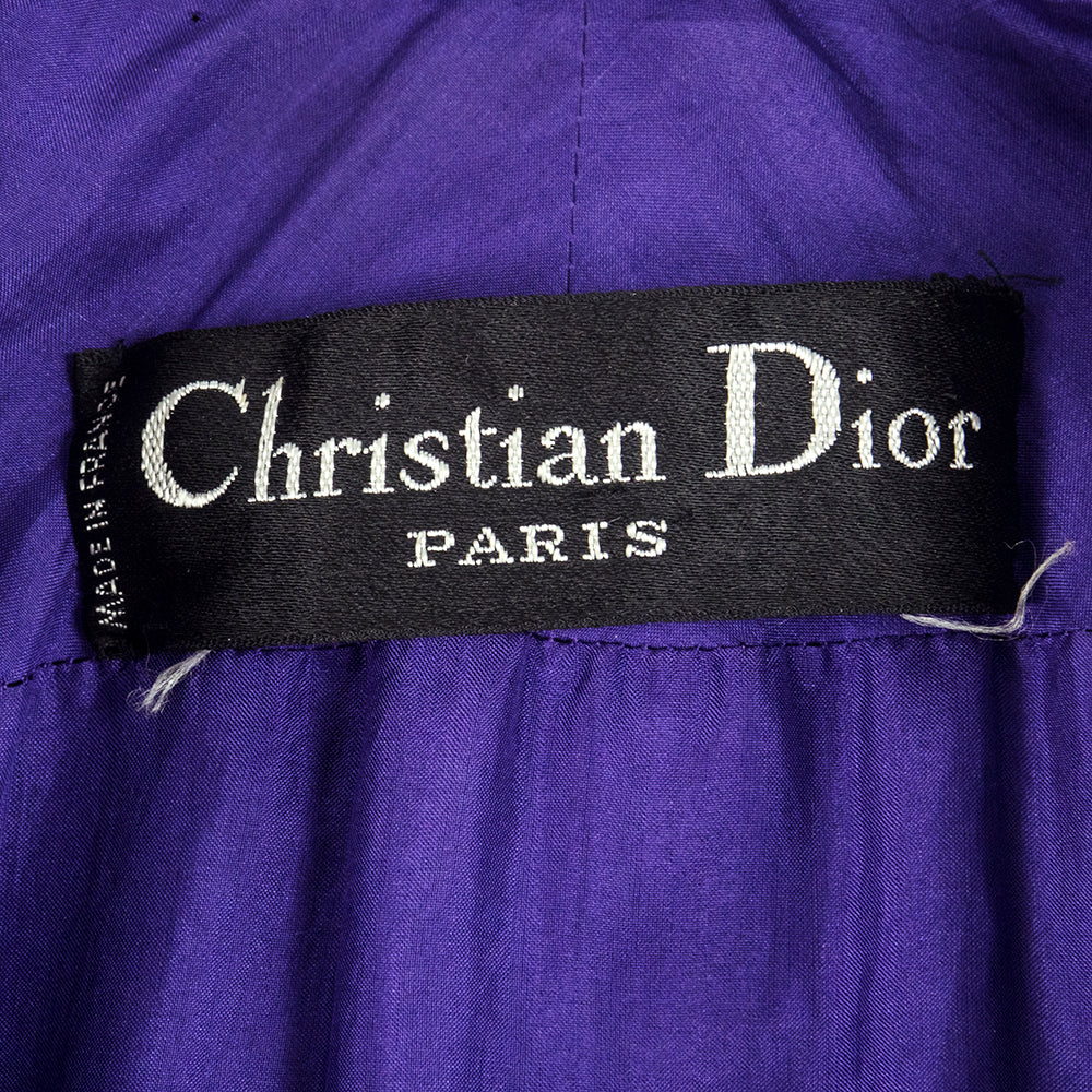 70s Christian Dior Purple Nubby Wool Overcoat with Leather Trim Label 4 of 6