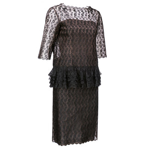 Vintage DIOR 60s Lace Strapless Overblouse & Dress, side