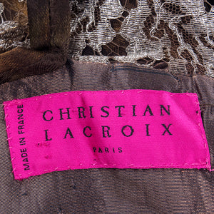 Vintage LACROIX 90s Jacquard & Lamé Lace Dress, label