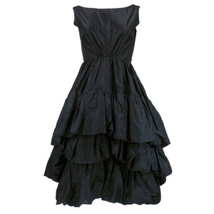 Vintage YSL for DIOR 50s Black Silk Tiered Dress