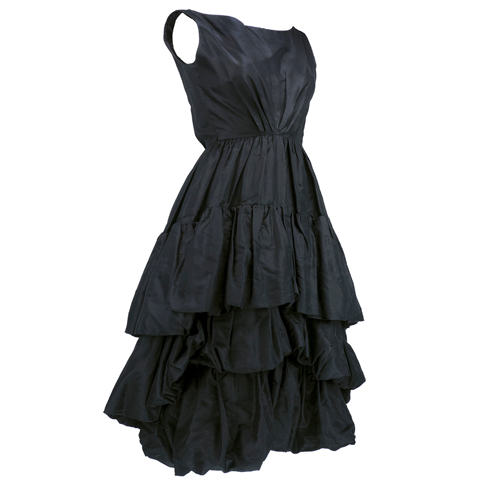 Vintage YSL for DIOR 50s Black Silk Tiered Dress, side