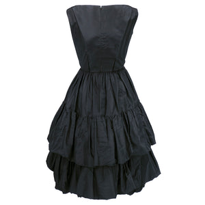 Vintage YSL for DIOR 50s Black Silk Tiered Dress, back