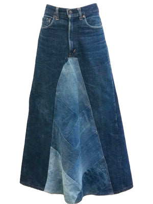 Levi 70s Denim Patchwork Maxi Skirt FRONT 1 of 6