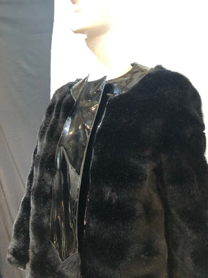Pierre Cardin 60s Faux Fur and Patent Coat Side 3 of 7