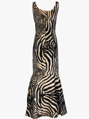 Arnold Scaasi 1992 Zebra Print Bombshell Gown with Shawl BACK OF GOWN 2 of 6
