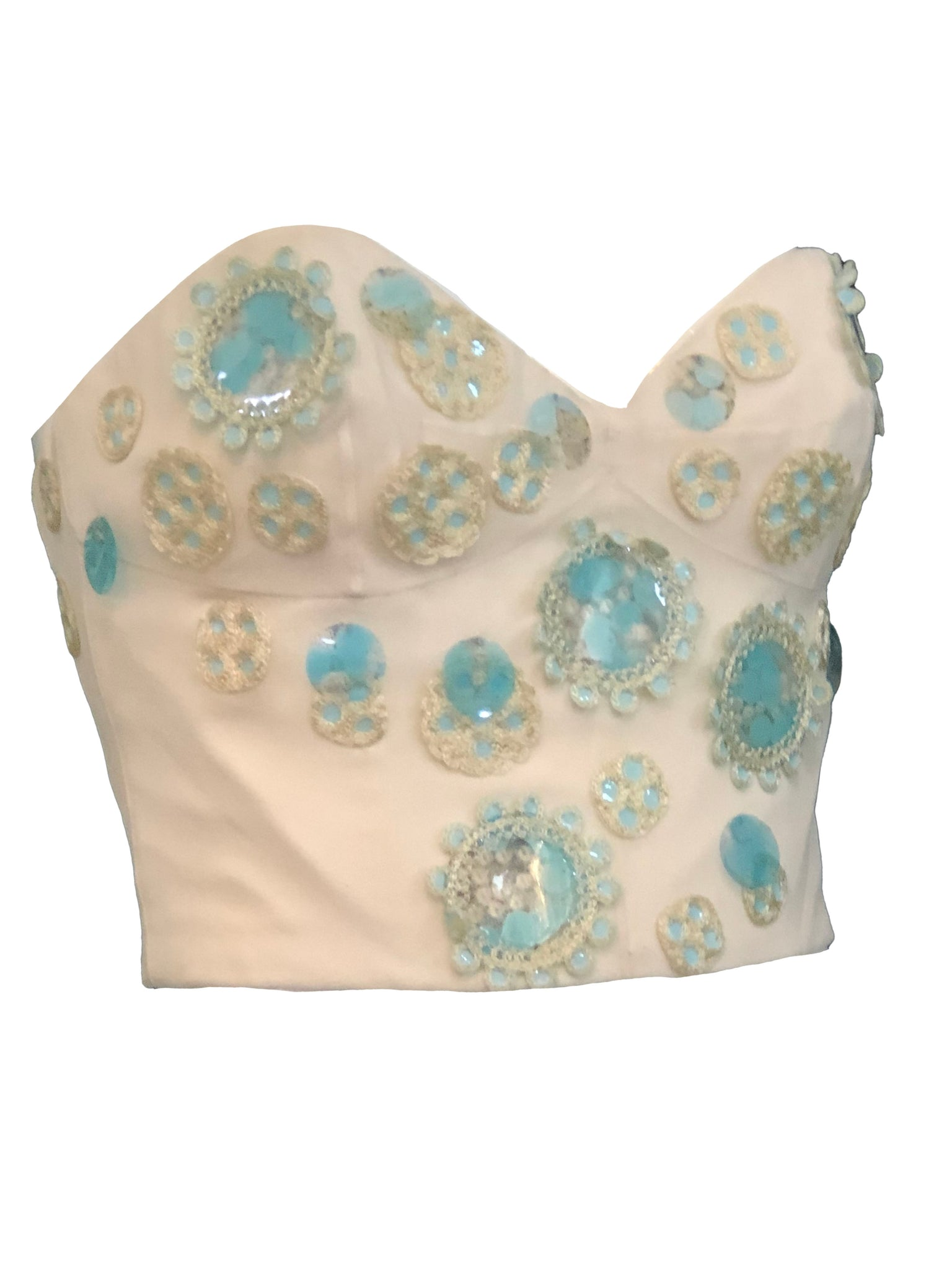 Chloe Early 2000s Ivory Bustier with Baby Blue Paillettes SIDE 2 of 5