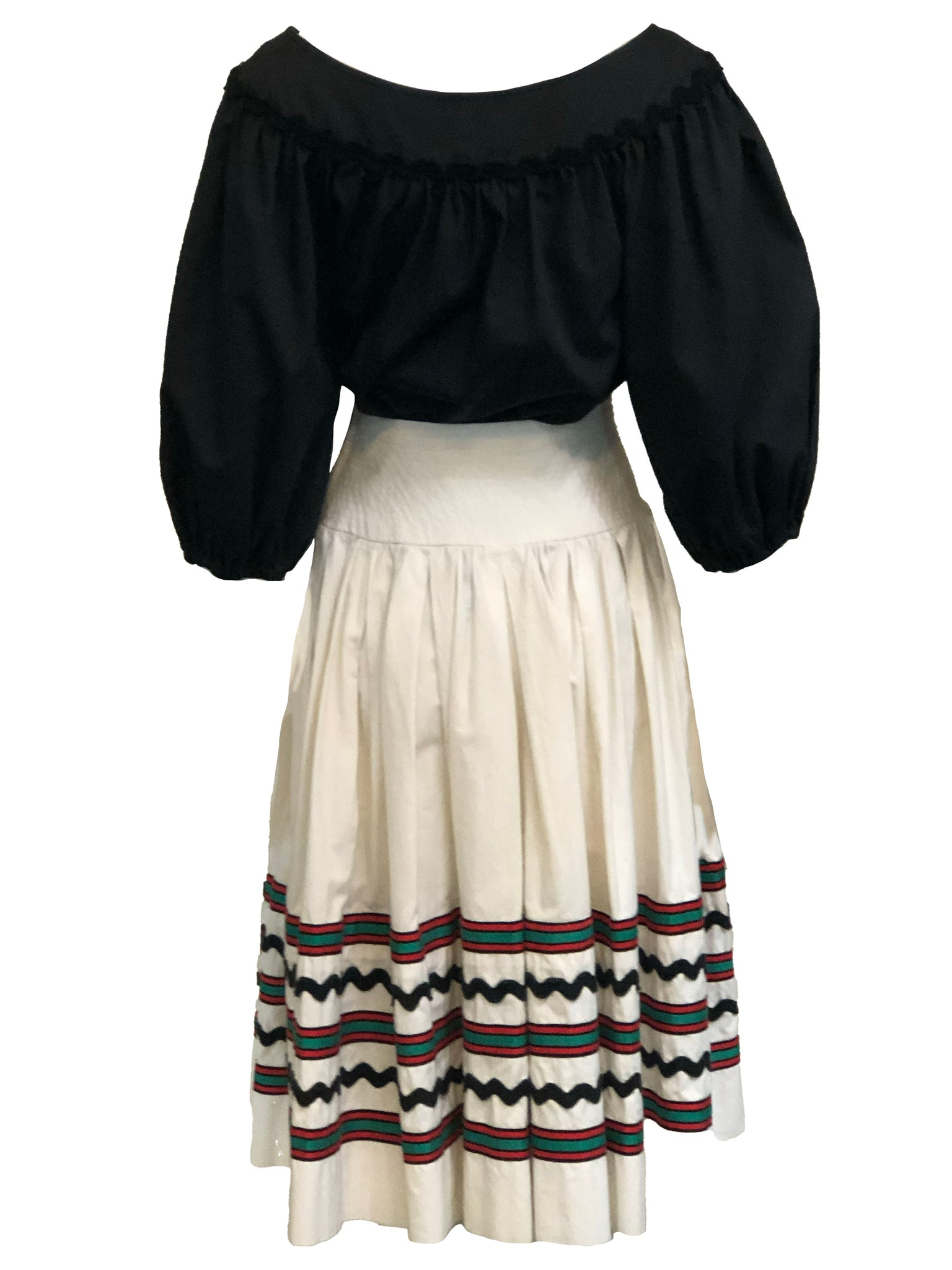 YSL 1970s Peasant Ensemble in Black and White BACK 3 of 6