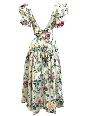 80s White Cotton Floral Cottage Core Dress BASCK 3 of 4