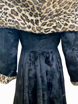 Norma Kamali 1985 Black and Faux Leopard Print Coat  BACK DETAIL 4 of 6