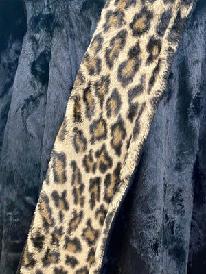 Norma Kamali 1985 Black and Faux Leopard Print Coat DETAIL 5 of 6