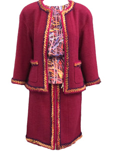 Chanel Contemporary Burgundy Boucle Suit with Matching Blouse FRONT 1 of 8