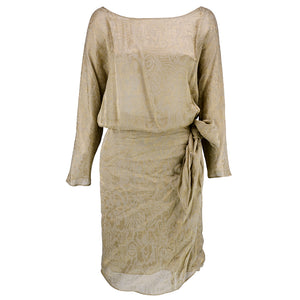 Vintage KARAN 90s Gold Lame Wrap Dress