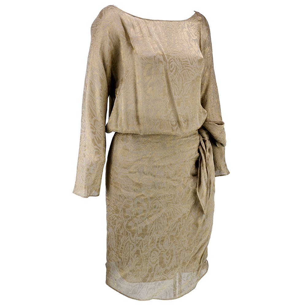 Vintage KARAN 90s Gold Lame Wrap Dress, side